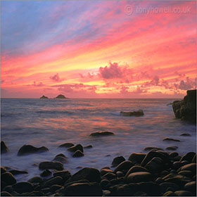 Photographs of Cornwall - afterglow, porth nanven