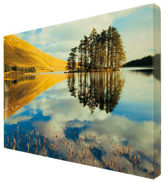 the canvas is carefully and secured over a solid pine wooden frame then sealed finished and a hanging plate is affixed