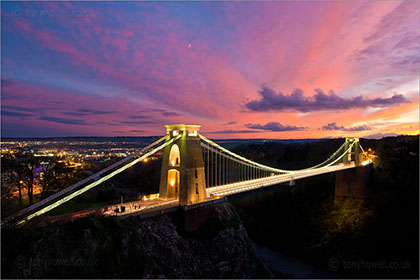 Suspension bridge, night