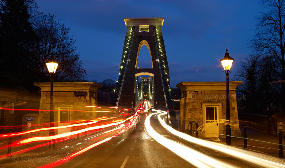 Clifton Suspension Bridge, Bristol, Light Trails