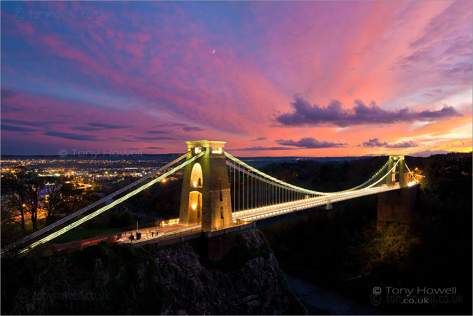 Suspension Bridge, Bristol, Sunset