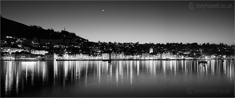 Dartmouth at Night with Crescent Moon