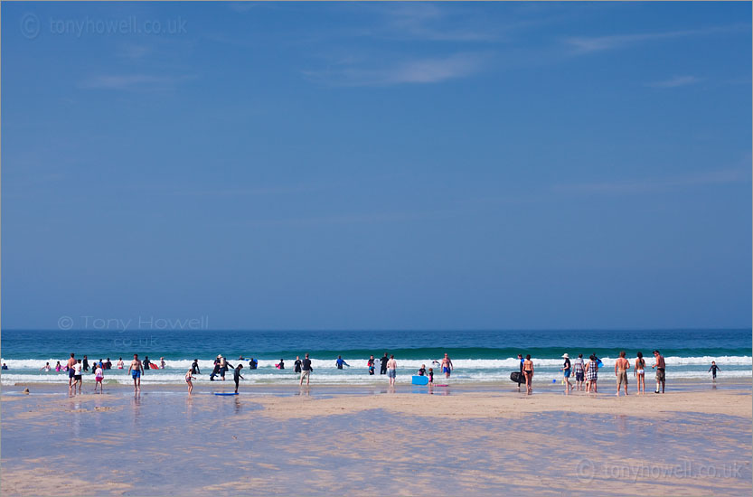 People in a Line, Porthmeor Beach, St Ives