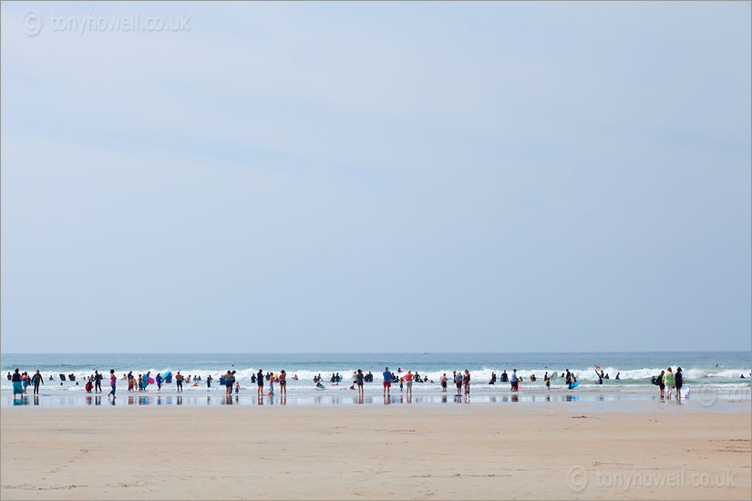 Polzeath Beach, People in a Line