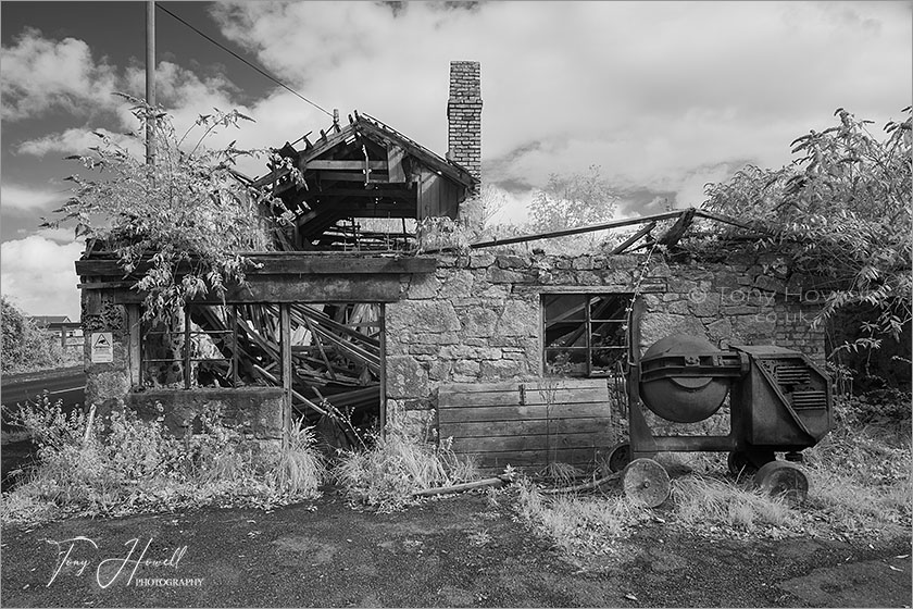 Abandoned Workshop (Infrared Camera; makes grass and foliage go white)