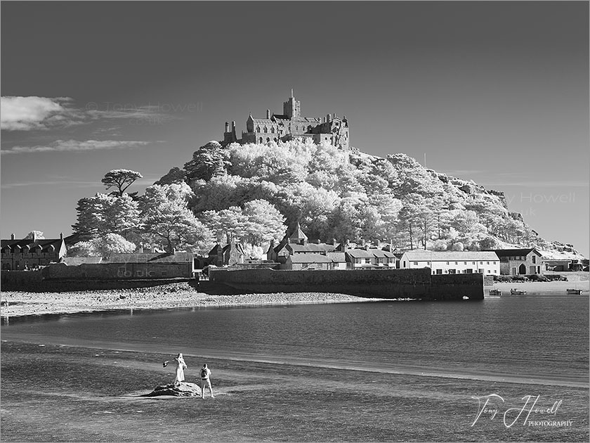 St Michaels Mount, Infrared Camera (makes foliage turn white)