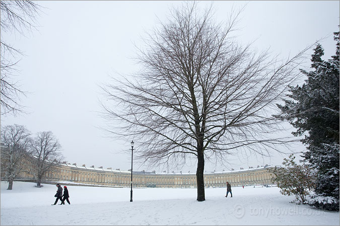 Bath, Royal Crescent, Snow