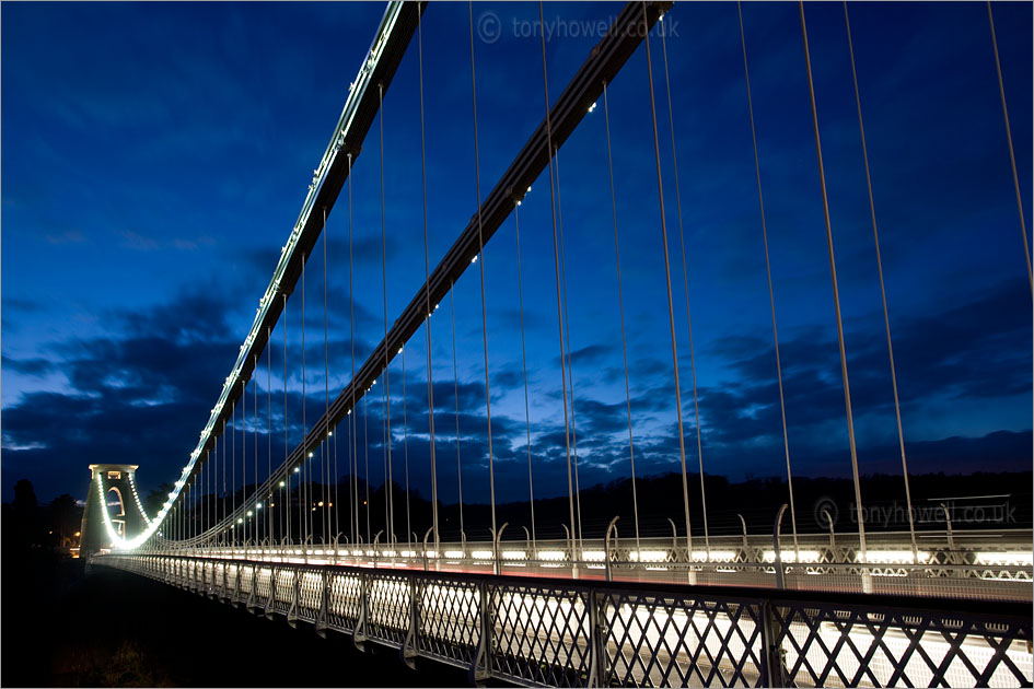 Clifton Suspension Bridge, Bristol, Dusk, Lights