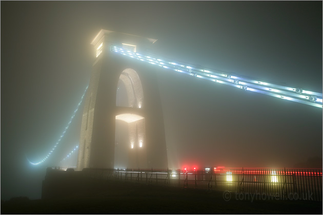 Clifton Suspension Bridge, Bristol, Night, Mist, lights