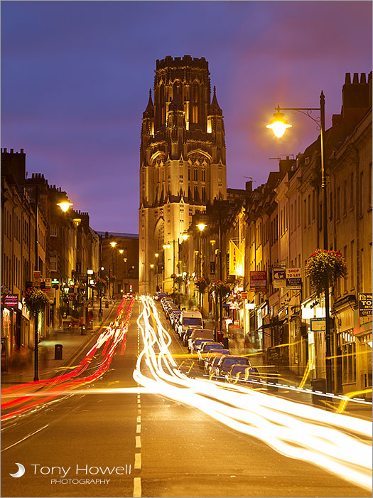Park Street, Bristol, Wills Memorial Building, Dusk