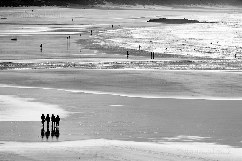 Surfers and Silhouettes, Godrevy Beach